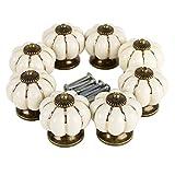 LVPY Schrankgriffe, 10 Stück aus Keramik Knauf mit Kürbis Dekoration für Schrank, Schublade, Griffe für Türen, Vintage-Look, Farbe: Weiß