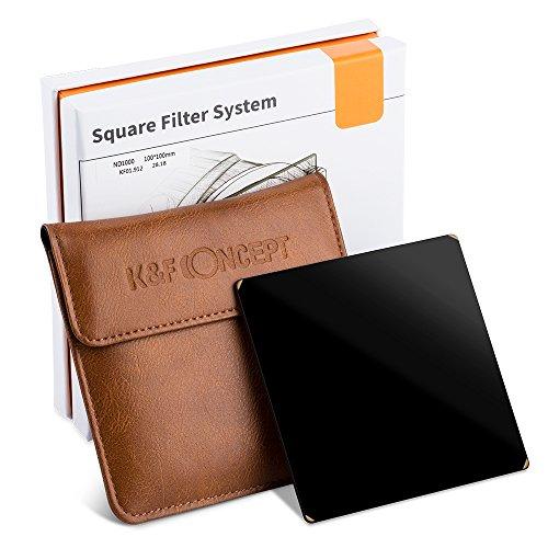 K&F Concept Rechteck-Filterhaltersystem Square Filter Optisches Glas ND1000 Graufilter mit Filterhalter und 7er Lieferumfang Objektiv Filter Adapterringe 52mm 58mm 62mm 67mm 72mm 77mm 82mm (52mm Objektiv-filter)