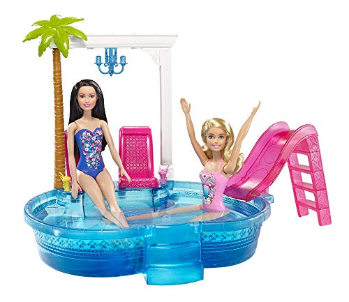 Barbie- glam pool con accessori, multicolore, dgw22