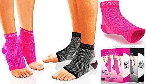 Physix Gear Sport Plantarfasziitis-Socken mit Fußgewölbeunterstützung, 24h-Fußkompressionsbandage, Knöchelstütze, lindern Schwellungen, Fersensporn, steigern die Durchblutung, besser als Nachtschienen, Pink, Größe L/XL
