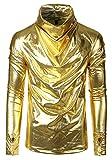 WHATLEES Herren einfarbig Glitzer Pullover mit Rollkragen Wasserfallausschnitt BA0208-Gold-L