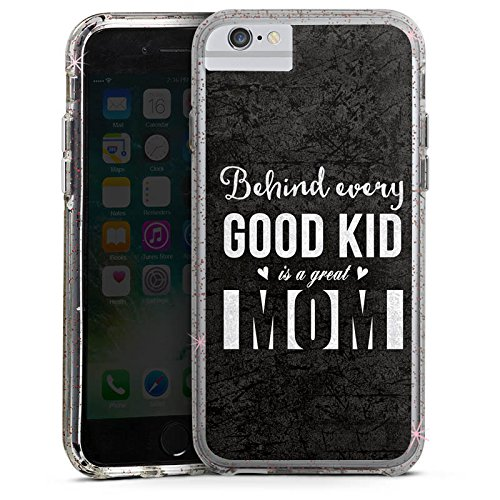 Apple iPhone 6 Plus Bumper Hülle Bumper Case Glitzer Hülle Saying Sie Mama Bumper Case Glitzer rose gold