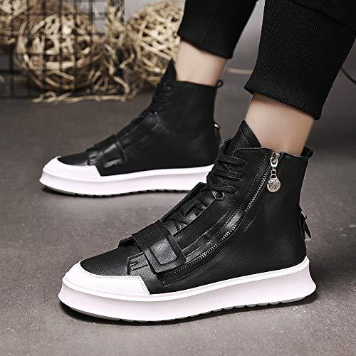 Shukun Herren Stiefel High to Help White Shoes Autumn and Winter Men's Martin Boots Street Zipper High Waist Shoes Leather Boots, 40, Black Black Super Street Boot