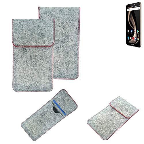 K-S-Trade® Filz Schutz Hülle Für -Allview X4 Soul Infinity Z- Schutzhülle Filztasche Pouch Tasche Case Sleeve Handyhülle Filzhülle Hellgrau Roter Rand