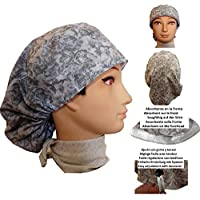 Surgery caps Scrub hat Operating room cap woman Gray Waters For long hair Absorbent on the forehead Adjustable with tensioner and rubber