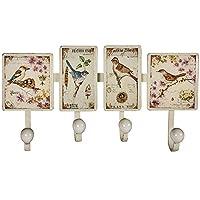 WATSONS TWEET - Wall Mounted 4 Coat/Towel/Key Hook with Bird Art Plaques - Cream/Multi-coloured