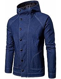 Odejoy Uomo Inverno Giacca di Jeans con Cappuccio Cappotto Outwear Casual  Imbottita Denim Giubbotto Manica Lunga 98de93df043