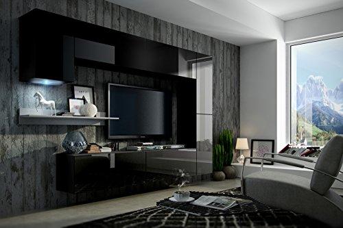 FUTURE 6 Moderne Wohnwand, Exklusive Mediamöbel, TV Schrank, Neue Garnitur,  Große Farbauswahl (RGB LED Beleuchtung Verfügbar)   Möbelbilliger.de