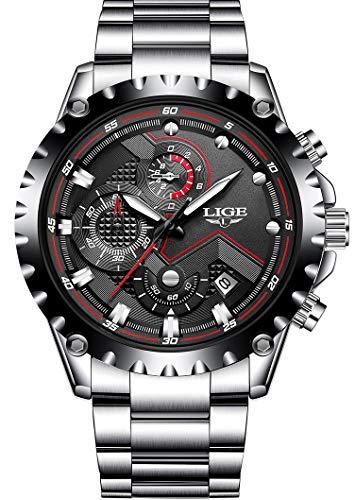 Lige Herren Armbanduhr Analog Quarz Wasserdicht mit Silber Edelstahl 9821M