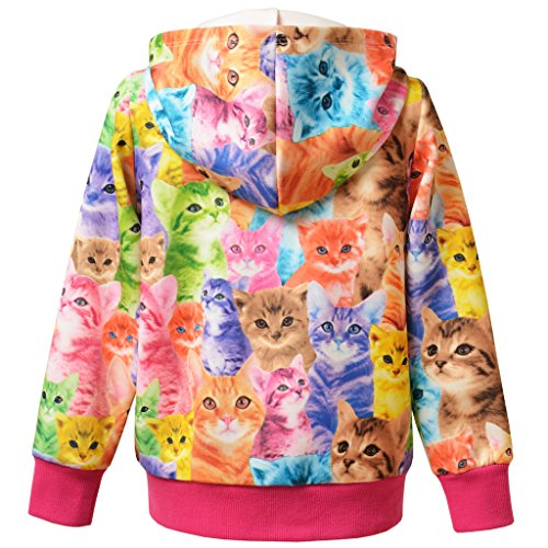 Perfashion Kinder Mädchen Reißverschluss Casual Hoodies Langarm Kapuzenjacke Jacket Top Sweatshirt - 4