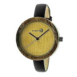 Earth Wood Yosemite Leather-Band Watch - Olive (ETHEW3704)