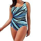Damen Swimwear Große Größen Mehrfarbig Drucken Neckholder Tankini Badeanzug Hot Frauen Gepolstert Rückenfrei Monokini Bademode Regenbogen Bademode Swimwear (L, Blaue Streifen)