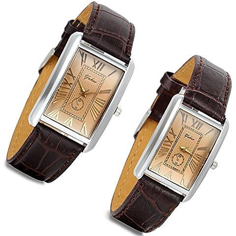 Lancardo Orologio cinturino in pelle marrone con quadrante numeri romani per Couple/Lovers, caso quadrata in argento (2 pezzi)