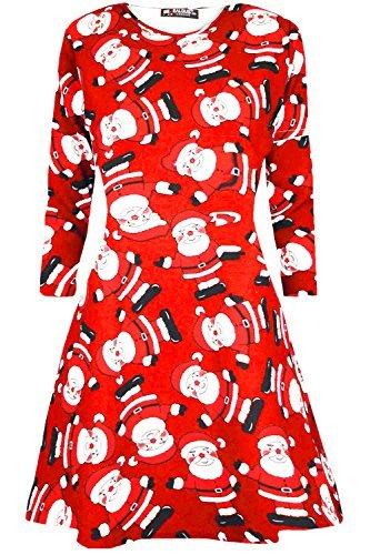 Neuf Femme Mini Robes Sapins De Noël Noël Père Noël Bonhomme De Neige Renne Rudolphe Cadeau Cloches Présent Femmes Couvercle À Bascule Ondulant Santa Rouge