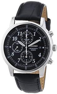 Reloj Seiko SNDC33P1 de caballero de cuarzo con correa de piel negra - sumergible a 100 metros de Seiko