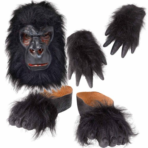 Gorilla Kostüm-Set: Maske, Hände Füße (Gorilla Kostüme Maske)