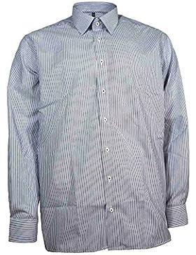 Eterna Herrenhemd Langarm Baumwoll Hemd Baumwollhemd Herren Business Modern Fit Blau-Weiß Gestreift