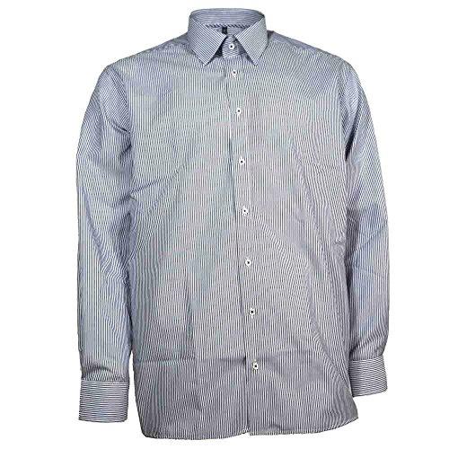 Eterna Herrenhemd Langarm Baumwoll Hemd Baumwollhemd Herren Business Modern Fit Blau-Weiß Gestreift Blau