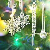 Urio 40Pezzi Set di Decorazioni di Natale–Fiocchi di Neve da Appendere in Acrilico Trasparente Glitter Icicles Goccia Albero Natalizio Party Decorazioni
