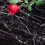 Niviy Papier Adhésif pour Meuble 45 cm × 200cm Noir PVC Self Adhesive Autocollant Meubles Film Cuisine Marbre, Papier Peint Marbre de l'environnement Matériau