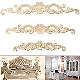 Legno intagliato Corner Onlay applique stile europeo porta mobili armadio Decor Wall Art non verniciata telaio applique 35*6cm Brown