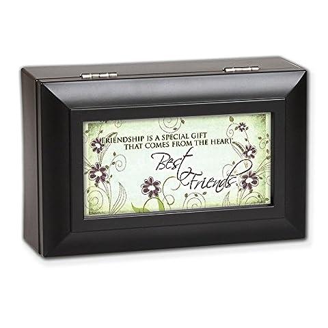 Best Friends Friendship Matte Black Petite Music Musical Jewelry Box Plays Wonderful World by Cottage Garden