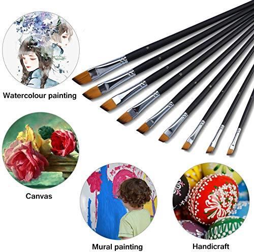 Set di 9 Nylon Pennelli per Dipingere Acquerelli Pennelli Pittura Artista Professionali Materiali Per Pittura ad Olio, Acrilico e ad Acquerelli