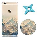 MAOOY iPhone 6s Coque, Souple Silicone Cover pour iPhone 6, élégant Paysage Motif Série Design Clear Cristal Flexible Ultra Slim Thin Scratch Résistant pour iPhone 6/6s - Montagne Enneigée