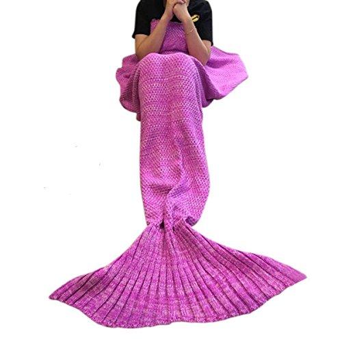 Meerjungfrau Decke, Handgemachte Strick Decke Mermaid Tail Blanket Kostüm Schlafsack für Baby Kinder Erwachsene, Ideal für Geschenke Damen und Kinder (Kostüm Sie Machen Ariel Ein)