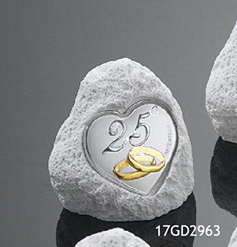 Oggettistica per bomboniere roccia con placca in argento laminato 25 anni di matrimonio nozze d argento made in italy