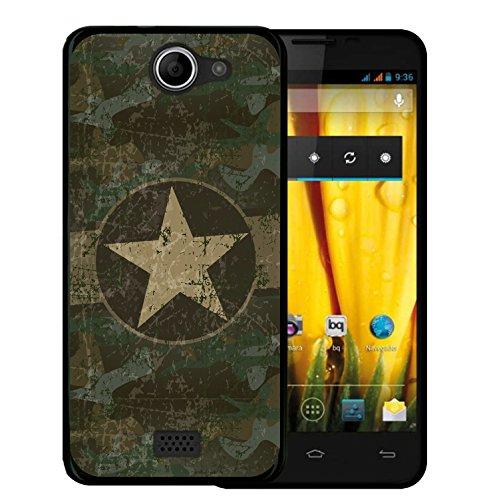 Funda Bq Aquaris 5 HD, WoowCase [ Bq Aquaris 5 HD ] Funda Silicona Gel Flexible Estrella Militar, Carcasa Case TPU Silicona - Negro