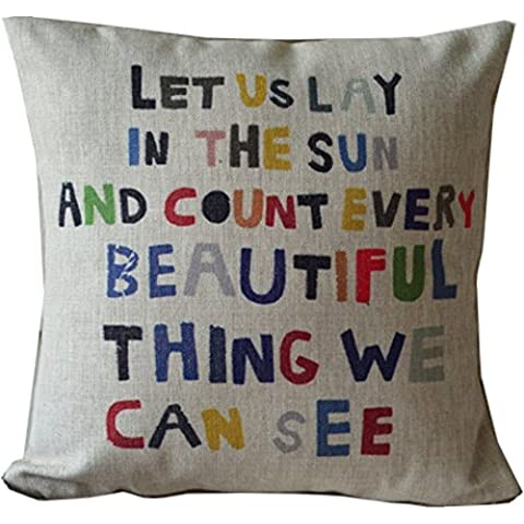 snowwer Colorful Lettere Throw Pillow Case Decor Cushion Covers 45,7 x 45,7 cm Beige misto cotone lino