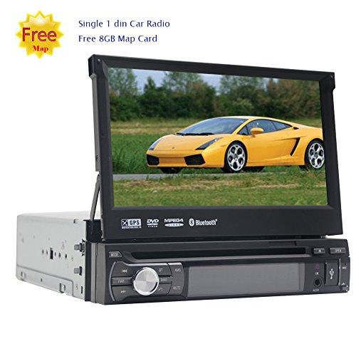 rte 1DIN Autoradio-Stereo Dash CD-DVD-Spieler 7inch Digital-Screen-abnehmbare Front Gesicht GPS Navigation-Steuerger?t Unterst¡§1tzung Autoradio Bluetooth FM AM RDS Radio Receiver ()