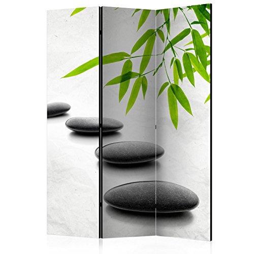 murando Raumteiler Spa Zen Foto Paravent 135x172 cm einseitig auf Vlies-Leinwand Bedruckt Trennwand Spanische Wand Sichtschutz Raumtrenner schwarz grün grau b-B-0156-z-b