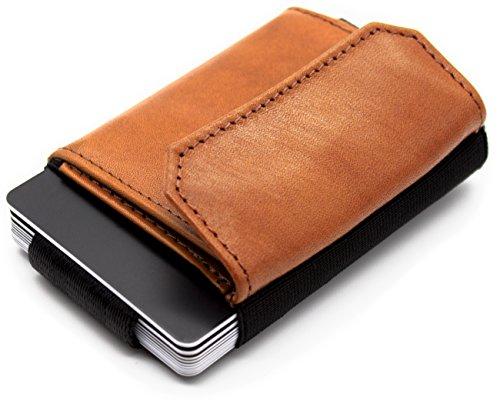 Reise-geld-clip (JAIMIE JACOBS Minimalist Wallet Nano Boy Pocket Mini Geldbörse aus Textil mit Zugband schmaler Kartenhalter für Herren und Damen (Cognac))