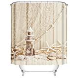 Wachturm Duschvorhang, Qile Top Qualität Anti-Schimmel & Anti-Bakteriell 3D Duschvorhänge für Bad Badezimmer 180 x 180 cm + 12 Haken