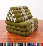 Leewadee Thaikissen/Thaimatte mit Dreieckskissen - faltbar - 3 Auflagen - 170x50cm (Grau, Grün, Weiß), Kapok