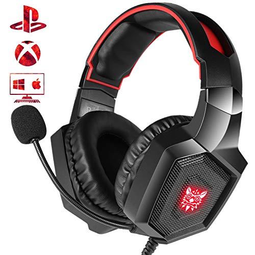 Casking Gaming Headset, Neuen LED-Licht PS4 Gaming Kopfhörer mit Surround Stereo Sound und Mikrofon zur Geräuschreduzierung für Xbox One,PS4,PC,Nintendo Switch,Mac,PC und Phone(Rot) Stereo-gaming-kopfhörer