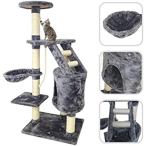 regalos kawaii gato Todeco - Árbol para Gato con Rascador, Torre para Rascar de Sisal Natural, Material: MDF, 47.2 inch, 5 platformas, color Gris