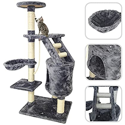 Todeco Árbol para Gatos, Escalador para Gatos - Material: MDF - Tamaño de la casa de gato: 30,0 x 30,0 x 42,9 cm - 120 cm, 5 plataformas, Gris
