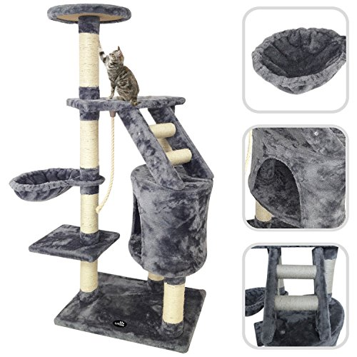 Todeco - Tree for Cats, Climber for Cats - Material: MDF - Size of cat house: 30,0 x 30,0 x 42,9 cm - 120 cm, 5 platforms, Gray color