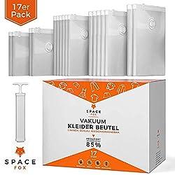 SpaceFox EINFÜHRUNGSANGEBOT Vakuumbeutel für Kleidung [2019] - 17 TLG. Kompressionsbeutel Set mit Pumpe