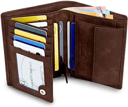 GenTo Design Germany GenTo® Herren Geldbörse Dublin - TÜV geprüfter RFID NFC Schutz - Geräumiger Geldbeutel im Hochformat | Design Germany ? (Dunkelbraun Soft)
