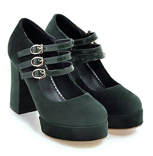 YE Damen High Heels Plateau Geschlossen Pumps mit Blockabsatz und Riemchen Schnalle 10cm Absatz Wildleder Schuhe Grün