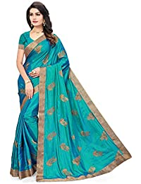 Riva Enterprise women's Paper silk hand pattern embroidred green color saree with blouse