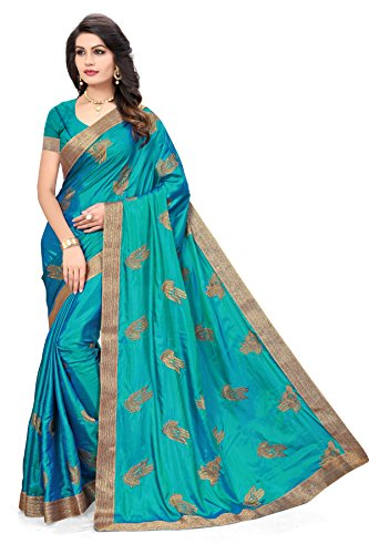 Riva Enterprise women\'s Paper silk hand pattern embroidred blue color saree with blouse