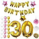 BELLE VOUS Luftballons Happy Birthday Banner Party Zubehör Set & Dekorationen Folienballons Geburtstag - Gold, Weiß & Rosa Latex-Ballon-Dekoration - Dekor für alle Erwachsenen geeignet
