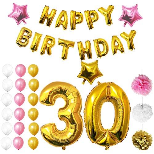 BELLE VOUS Globos Cumpleaños Happy Birthday, Suministros y Decoración Globo Grande de Aluminio - Decoración Globos De Látex Dorado, Blanco y Rosada - Apto para Todos los Adultos
