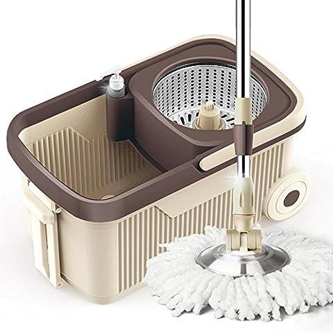 Deux Disques Durs Nettoyage de Rotation Mop Fibre Superfine Tête de Coton Acier Inoxydable Tige (Acciaio Inossidabile Benna)