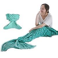 EarthBay Sirena Coda Coperta pre Adulti Crochet lavorato a maglia Handmade Coperta Con Scala di Pesci divano letto soggiorno Regalo